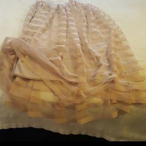 Creamy tulle striped midi skirt
